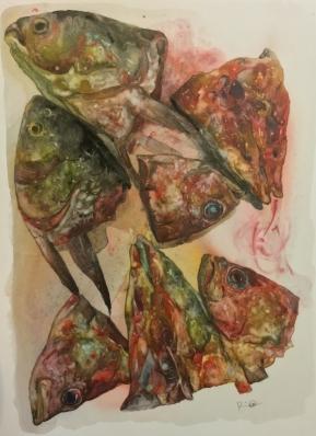 Fish No.42016mixed media22.0 x 28.5cm©Rentian Qiu