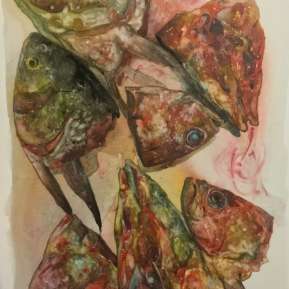 Fish No.4   2016   mixed media   h.28.5 × w.22.0 cm  ©Rentian Qiu