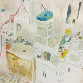 Room No.2   2016   watercolor   h.29.0 × w.27.0 cm  ©Rentian Qiu