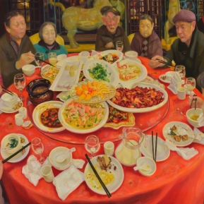 Supper   2017   oil on canvas   h.131.0 × w.162.0 cm  ©Rentian Qiu